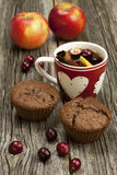 Christmas mug with chocolate muffins Stock Photo