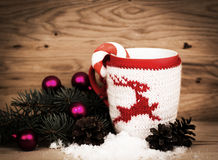 Christmas mug with Christmas decorations Stock Photography