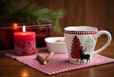 Christmas mug with cookies and  decorations. Christmas mug with cookies and Christmas decorations Royalty Free Stock Photography