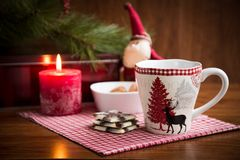 Christmas mug with cookies and  decorations. Christmas mug with cookies and Christmas decorations Royalty Free Stock Photos
