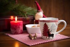 Christmas mug with cookies and  decorations. Christmas mug with cookies and Christmas decorations Stock Photography