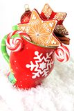 Christmas mug and cookies Stock Photography