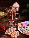 Christmas mug decoration lemon slice and plate cookies. Stock Images