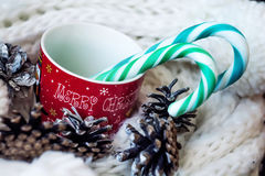 Christmas. Mug with  decorations Royalty Free Stock Images