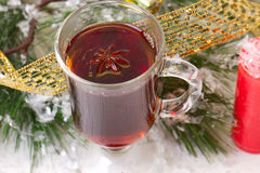 Christmas mug with tea decorated Stock Image