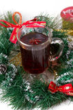 Christmas mug with tea decorated Royalty Free Stock Photo