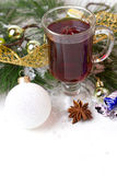 Christmas mug with tea decorated Royalty Free Stock Images
