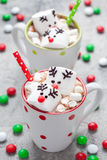 Christmas mugs hot chocolate with melted marshmallow reindeers Royalty Free Stock Photography
