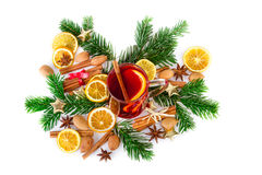 Christmas mulled wine bright composition with spices on white. Top view Royalty Free Stock Images