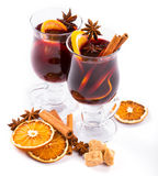 Christmas mulled wine with cinnamon and orange slices Royalty Free Stock Photo