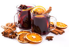 Christmas mulled wine with cinnamon and orange slices Stock Photo