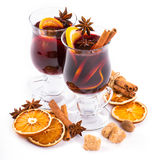 Christmas mulled wine with cinnamon and orange slices Royalty Free Stock Photography