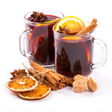 Christmas mulled wine with cinnamon and orange slices Stock Photography