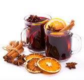 Christmas mulled wine with cinnamon and orange slices Stock Images