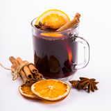 Christmas mulled wine with cinnamon and orange slices Royalty Free Stock Images