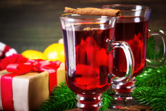 Christmas mulled wine with cinnamon sticks Royalty Free Stock Photo