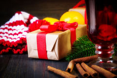 Christmas mulled wine with cinnamon sticks Stock Images
