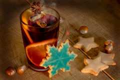 Christmas mulled wine with cookies Stock Photography
