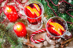 Christmas Mulled Wine. Drawn Snow Falling Effect. Xmas postcard. Stock Photography