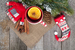 Christmas mulled wine with fir tree and decor Royalty Free Stock Photos