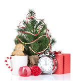 Christmas mulled wine with fir tree and gift box Stock Images
