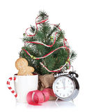 Christmas mulled wine with fir tree, gingerbread and alarm clock Royalty Free Stock Image