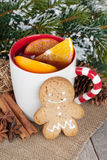 Christmas mulled wine with fir tree, gingerbread and spices Stock Image