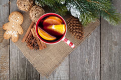 Christmas mulled wine with fir tree, gingerbread a Royalty Free Stock Image