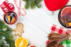 Christmas mulled wine and fir tree Royalty Free Stock Images