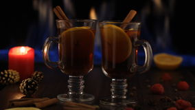 Christmas mulled wine. Fireplace fire in the background stock video footage