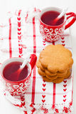 Christmas mulled wine and gingerbread Stock Photos