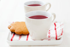 Christmas mulled wine and gingerbread biscuits Stock Image