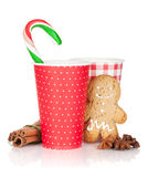 Christmas mulled wine with gingerbread cookie and candy cane Royalty Free Stock Photo