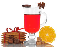 Christmas mulled wine in glass and cookie Royalty Free Stock Image