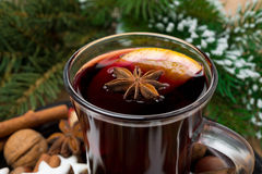 Christmas mulled wine in glass cup close-up Stock Photos