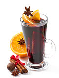 Christmas mulled wine in glass cup Royalty Free Stock Image