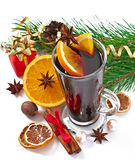 Christmas mulled wine in glass cup Stock Photo