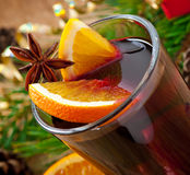 Christmas mulled wine in glass cup Stock Photos