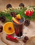 Christmas mulled wine in glass cup Royalty Free Stock Photos