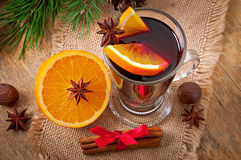 Christmas mulled wine in glass cup Stock Images
