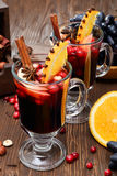 Christmas mulled wine and ingredients Stock Images