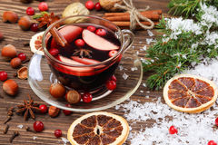 Christmas mulled wine and ingredients Royalty Free Stock Photos