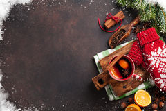 Christmas mulled wine. And ingredients. Top view with copyspace stock photos