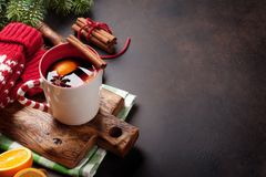 Christmas mulled wine. And ingredients. View with copyspace royalty free stock images