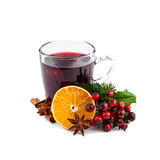 Christmas Mulled Wine Isolated On White Royalty Free Stock Photography
