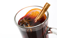 Christmas mulled wine isolated on white background. Christmas mulled wine in cup isolated on white background Royalty Free Stock Images