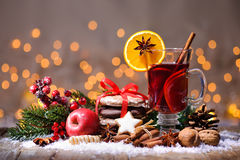 Christmas mulled wine. With oranges and spices Royalty Free Stock Images