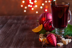 Christmas mulled wine with spices background Royalty Free Stock Image