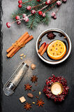 Christmas mulled wine and spices Stock Image
