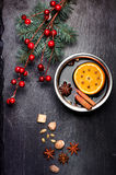 Christmas mulled wine and spices. Royalty Free Stock Photography